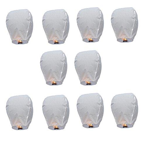 Tinksky Sky Lanterns Chinese Kongming Lantern Wishing Lamps-10pcs(White)