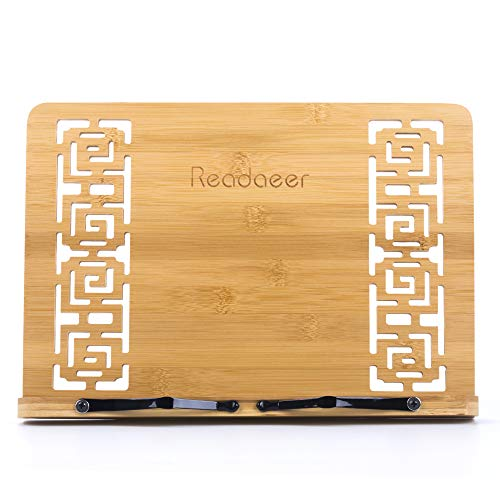 Reodoeer Bamboo Book Stand Reading Rest Cook Book Document Holder Foldable Pad Textbook Files Stand by Reodoeer (Image #6)