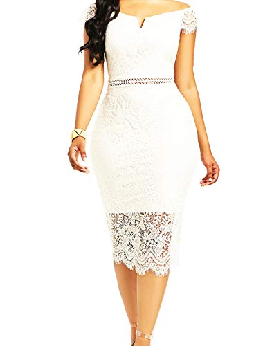 White Lace Women's Elegant Round Neck Short Sleeve Floral Lace Cocktail Dress