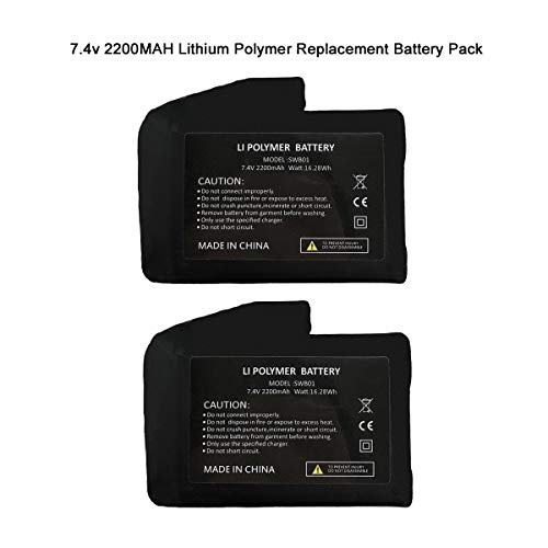 Rechargeable 7.4v 2200mAh/3000mAh Lithium Polymer Replacement Battery Pack,US Standard Dual Charger, USB Charging Cable for Heated Gloves,Socks,Thermal Heated Underwear Clothes