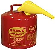 "UI-50-FS Red Galvanized Steel Type I Gasoline Safety Can with Funnel, 5 Gallon Capacity, 13.5"" Height, 12"