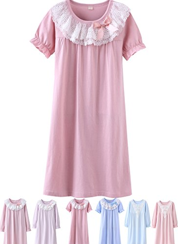 Abalacoco Girls Kids Princess Lace Nightgown Long Sleeve Cotton Sleepwear Dress Pretty Homewear Dress (14-15 Years, Pink/Short)