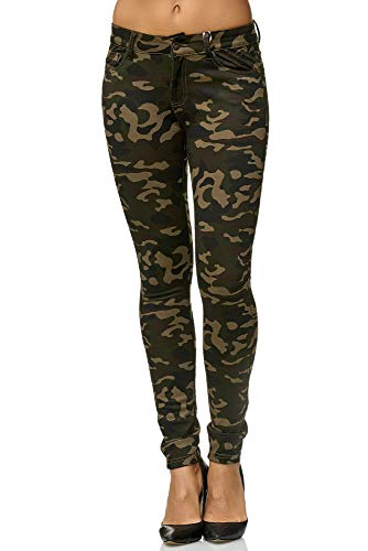 Elara Damen Stretch Hose Skinny Fit Jegging Chunkyrayan