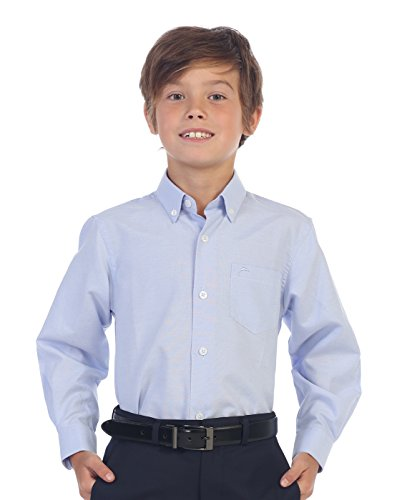 Gioberti Boy's Oxford Long Sleeve Dress Shirt, Light Blue, Size -