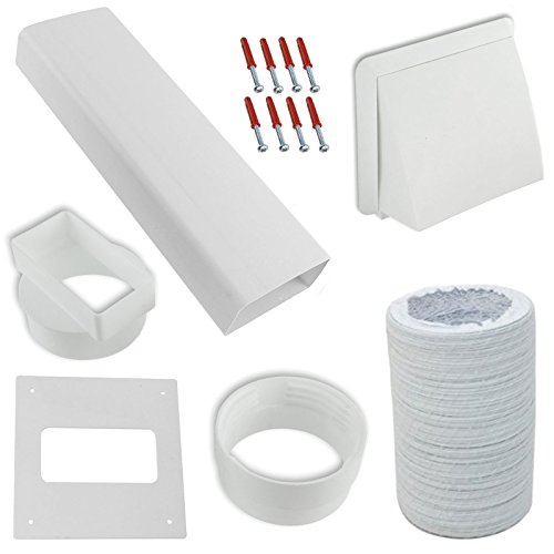 Spares2go Exterior Wall Venting Kit & Extension Hose For White Knight Tumble Dryers (White, 4