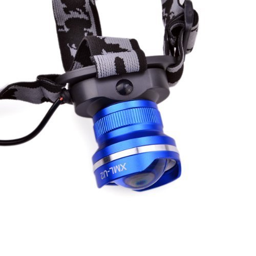 Onedayshop® Waterproof Zoomable Adjustable CREE T6 LED Headlamp Frontlight Super Bright 1000 Lumen for Hunting, Fishing, Camping, Hiking,Cycling, Outdoors(blue)+AC Charger Car charger and 2PCS 5000mah 18650 Rechargeable Batteries