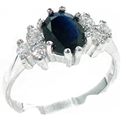 14k White Gold Natural Sapphire and Diamond Womens Cluster Ring (0.36 cttw, H-I Color, I2-I3 Clarity)