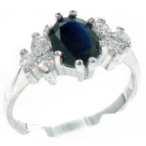 Diamond 14k Gold Estate Ring (14k White Gold Natural Sapphire and Diamond Womens Cluster Ring (0.36 cttw, H-I Color, I2-I3 Clarity))