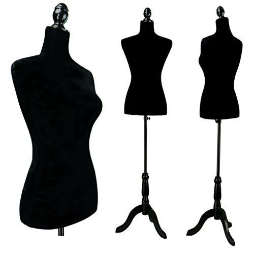 Great Deal! Black Female Velour-Like fabric Mannequin Dress Form (On Black Tripod Stand)