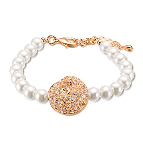 Mytys Pearl Beads Fashion Bracelet Strand Jewelry for Women Spiral Rose Gold Fishnet CZ (Pearl Spiral Bracelet)