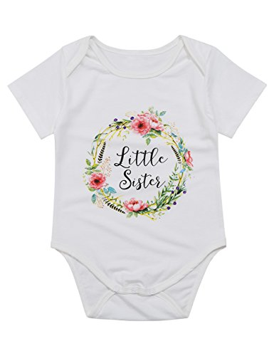 Gprince Baby Girls' Flower Printed Short Sleeve Sisters Rompers Lovely Bodysuit White