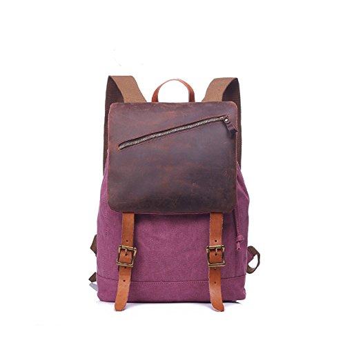 BAGEHUA Reisetasche Canvas Bag Vintage Tasche für Männer und Frauen große Kapazität tragbare Outdoor Rucksack Notebook Rucksack Kapazität 20-35 L gules