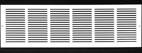"""30""""w X 8""""h Steel Return Air Grilles - Sidewall and Ceiling - HVAC Duct Cover - White [Outer Dimensions: 31.75""""w X 9.75""""h]"""