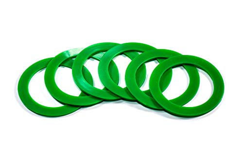 Silicone replacement gasket seals Wide mouth rings (Green) Pack of 6