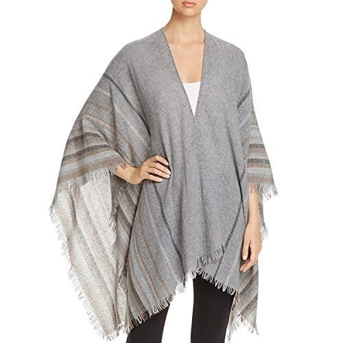 Eileen Fisher Womens Wool Fringe Poncho Top Gray O/S