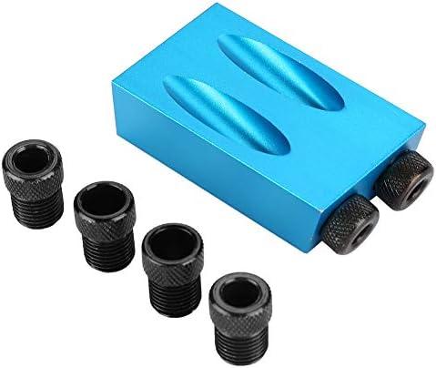 Schrägloch-Locator - 15-Grad-Holzarbeitsführung Schrägloch-Positionierer, 6/8 / 10mm Holzlokalisierung, Blau