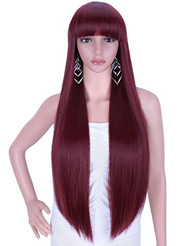 Kalyss 28 inches Women's Silky Long Straight Wine Red Wig Heat Resistant Synthetic Wig With Bangs Hair Wig for Women ()