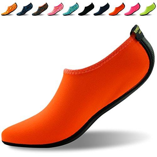 Forfoot Wasser Socken, Unisex Wasser Haut Schuhe Low Top Tauchen Schnorcheln Neopren Strand Socken Tauchen Schnorchel Socken Volleyball Fußball Schuhe für Wassersport Yoga Orange