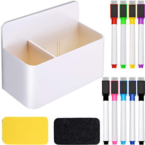Jovitec White Magnetic Marker Holder, 2 Pieces Magnetic Whiteboard Erasers and 9 Pieces Magnetic Dry Erase Markers with Erasers Cap for School Home Office