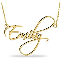 Collar con nombre Personalizados Plata de ley chapada en oro 18k Joya para Mujer Regalo para Familia Novia Cumpleaño Cadena Ajustable