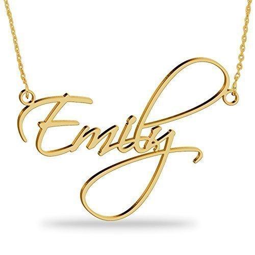 bfc61ddd63c5 Collar con nombre Personalizados Plata de ley chapada en oro 18k Joya para  Mujer Regalo para Familia Novia Cumpleaño Cadena Ajustable