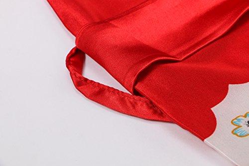 Yukata Women's Japanese Traditional Geisha & Sakura Satin Kimono Robe, Red L by Joy Bridalc (Image #5)