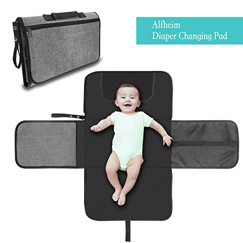 Alfheim Portable Waterproof Baby Diaper Changing Pad Covers with Head Cushion Lightweight Travel Home Diaper Changer Mat with Pockets
