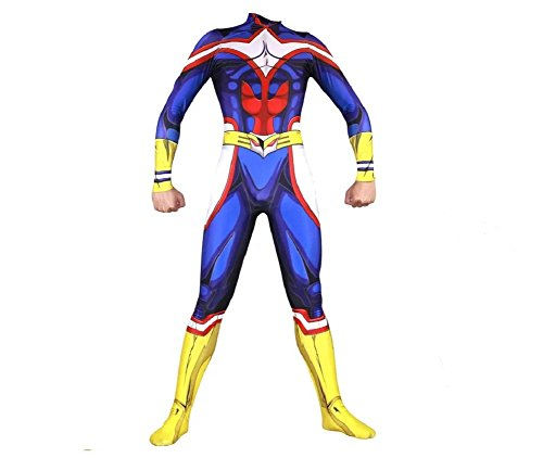 (Joyfunny My Hero Academia All Might Jumpsuit Halloween Cosplay Costume Unisex Bodysuit Adult)