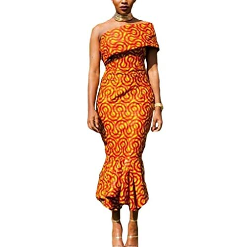 0590e946 70%OFF Annflat Women's African Print Ruffles One Shoulder Mermaid Formal  Prom Dress