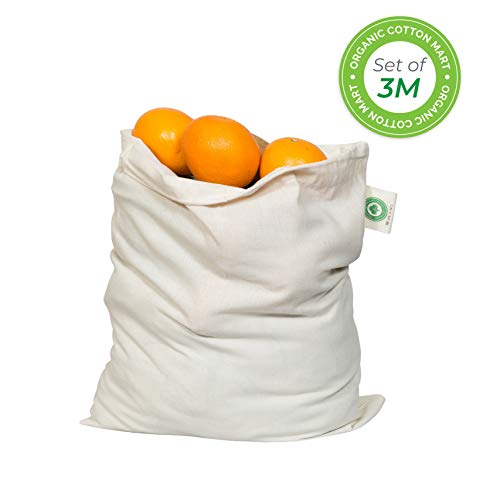 Muslin Produce Storage Bags - Almond Milk Bags - Reusable grocery bags cotton drawstring - Candy Bag - Breathable Muslin Organic Cotton Reusable Produce Bags - Set of 3 (3, Medium - 10x12)
