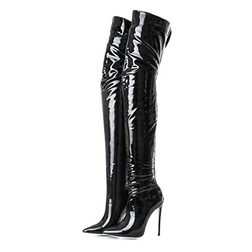 ODOKAY Elegant Lady Sexy Fashion with High Heel Long Thigh High Boot Shoes Patent/PU Leather Winter Long Boot