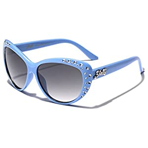 Giselle Kids AGE 6-14 Rhinestone Cat Eye Sunglasses - Blue