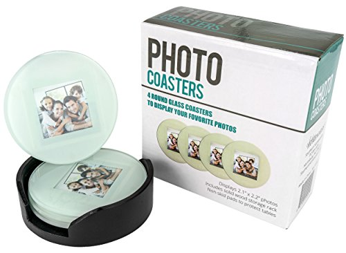 - Southern Homewares SH-10192 Glass Photo Frame Picture Coasters Circle with Wood Storage Rack, 4 Piece