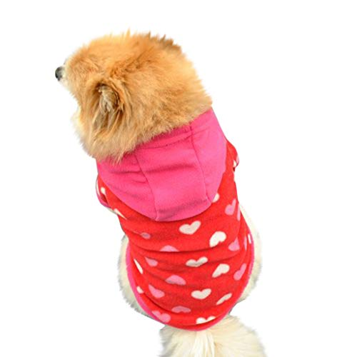 Dog Hoodie Sweater - Cute Shirt Pet Hooded Sweatshirt Puppy Clothes Printed Style Small Medium (Red, -