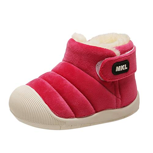 Baby Boys Girls Sneaker Toddler Snow Boots Winter Warm Infant Bootie Anti-Slip Outdoor Shoes (15-18Months, Hot Pink) (Burberry Shoes Kids)