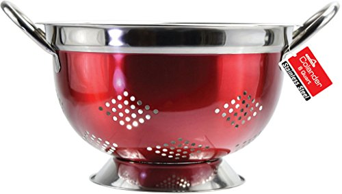 (Euro-Home SS-DK-3308 Gorgeous 8 quart Red Stainless Steel Colander, Multicolor)