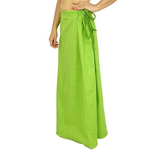 Sari enagua enagua Sólido Algodón Forro de Bollywood de la India Para Sari Green-2
