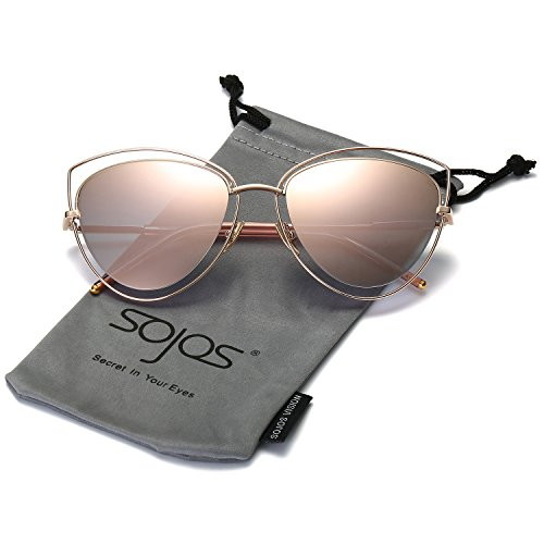 SojoS Women's Double Wire Double Rimmed UV400 Cat Eye Sunglasses SJ1047 With Gold Frame/Pink - Sunglasses Gold Rimmed