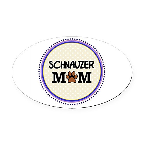 - CafePress - Schnauzer Dog Mom Oval Car Magnet - Oval Car Magnet, Euro Oval Magnetic Bumper Sticker