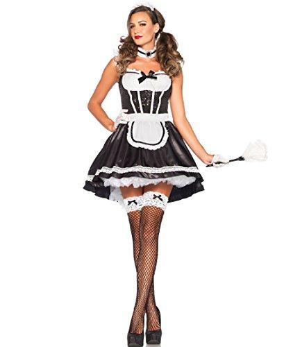 Leg Avenue Maid Costumes - Leg Avenue 85380 French Maid Darling Halloween Costume - Black/White - Medium/Large