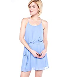 Womens Light Blue Self Tie Dress