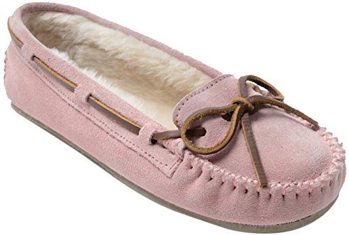 Minnetonka Shearling Moccasins - Minnetonka Womens Cally Slipper, Pink Blush, Size 7