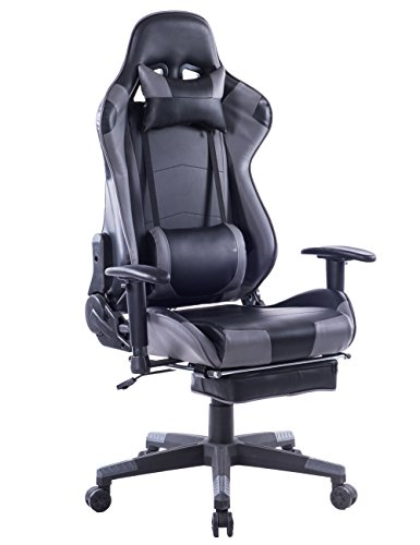 Killbee Ergonomic Reclining Swivel Gaming Chair Large Size PVC Leather Executive Office Chair with Headrest Lumbar Support Footrest (Gray)
