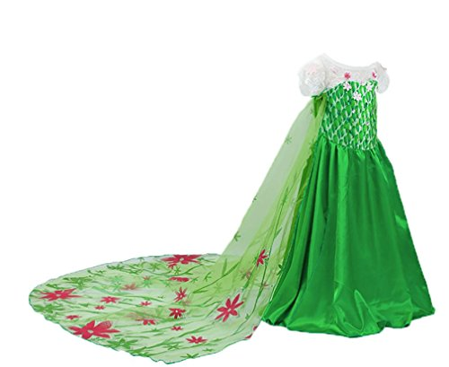 [Snow Queen Spring Deluxe Green Costume Dress (3-4)] (Anna Frozen Green Dress Costume)