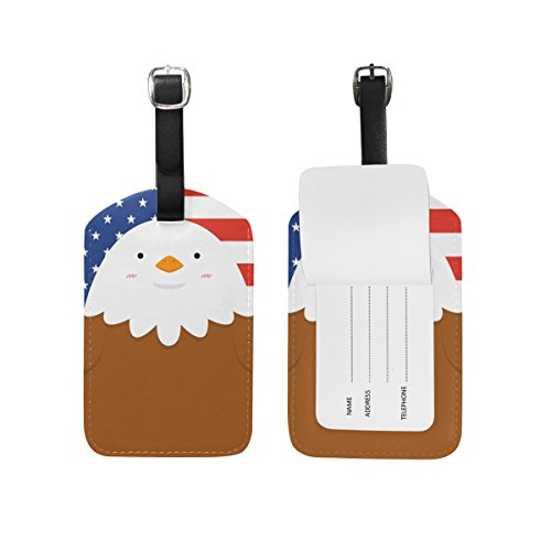 Travel Luggage Tag Cute Big Fat Eagle Stars and Stripes PU Leather Baggage Suitcase Tag Name Address ID Label 1 (Big Stripes Address Label)