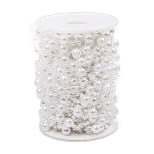 ABUFF Pearl Beads Chain 98 Feet, Pearl Beads String Artificial Pearl Beaded Trim for Garland Flowers Wedding Party Decoration Bridal Bouquet, 30M, 3-8mm, White ()