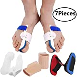 Bunion Corrector Bunion Relief Protector Sleeves Kit, Big Toe Corrector Straightener Separator Treat Pain in Hallux Valgus, Big Toe Joint, Hammer Toe, Splint Aid Surgery Treatment (Blue White Splints)