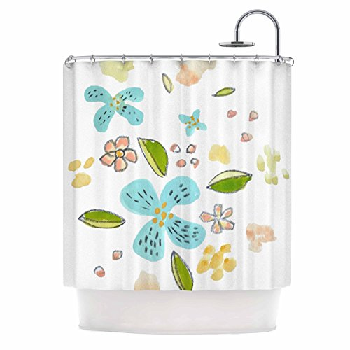 KESS InHouse Jennifer Rizzo Happy Flower Dance Blue Green Floral Shower Curtain, 69'' x 70'' by Kess InHouse