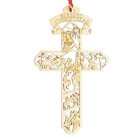 d138221adc8 Belén Cruz de madera adorno de Navidad para árbol de Navidad de recuerdo de  reliquia de  calidad