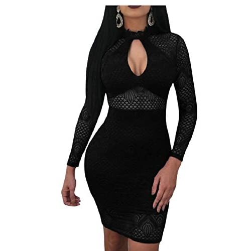 Qiangjinjiu Womens Slim Fit Off The Shoulder Lace Bodycon Midi Cocktail Dress